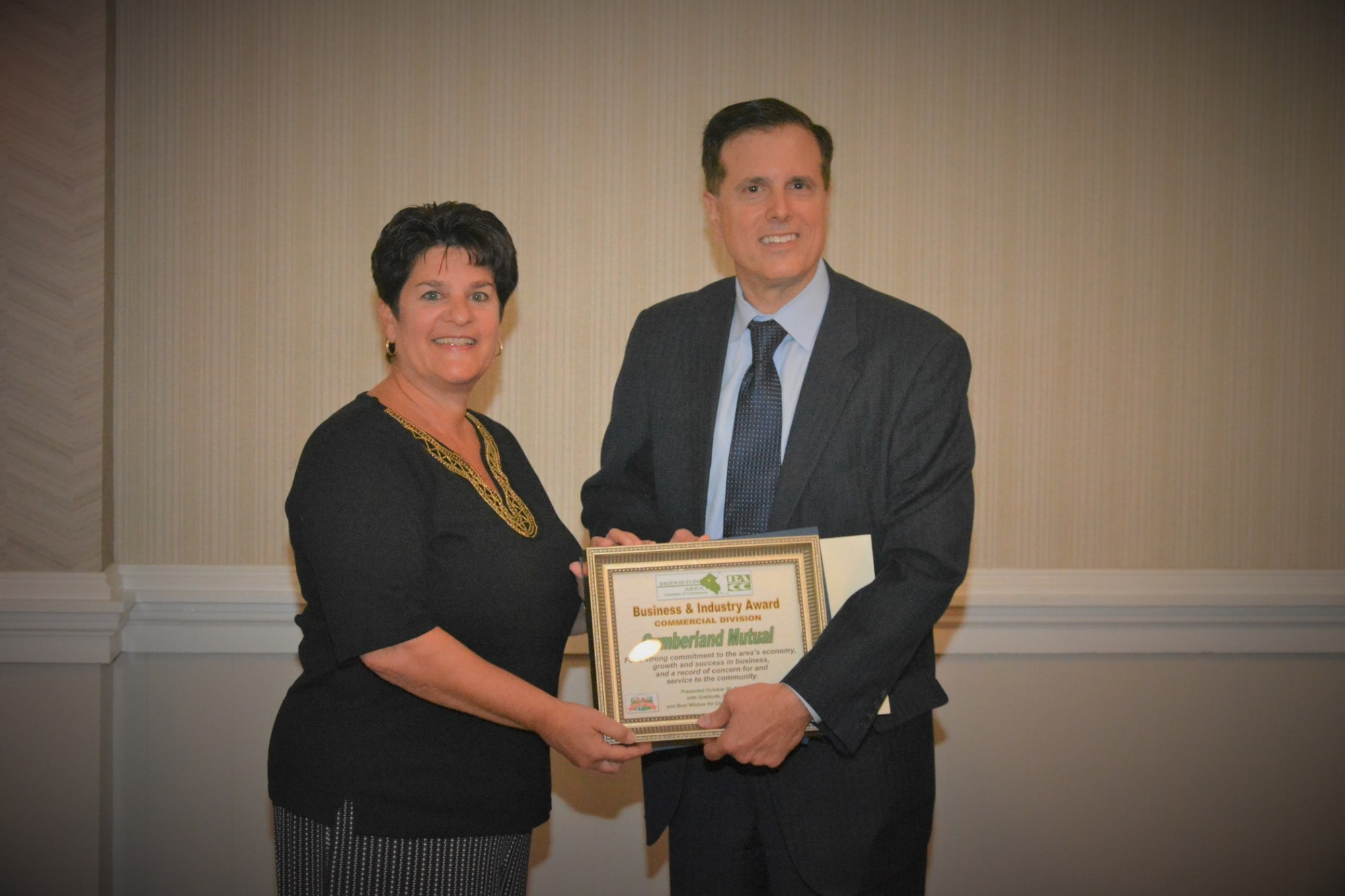 Photo from the Bridgeton Area Chamber of Commerce where Cumberland Mutual is the recipient of a Commercial Sector Award.